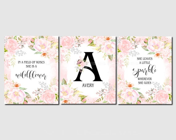 "Set of 4 Unframed /""Floral Fields Quotes/""  8x10 inch Baby Nursery Art Prints"