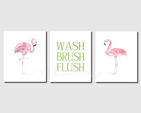 Flamingo Bathroom Wall Art Girl Bathroom. Kids Bathroom Art | Etsy