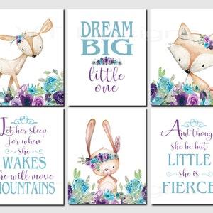 Dream Big She is Fierce Let Her Sleep Purple Teal Nursery Decor Girl,Safari Animals Nursery Toddler Girl Decor,Set of 6,Prints or Canvas