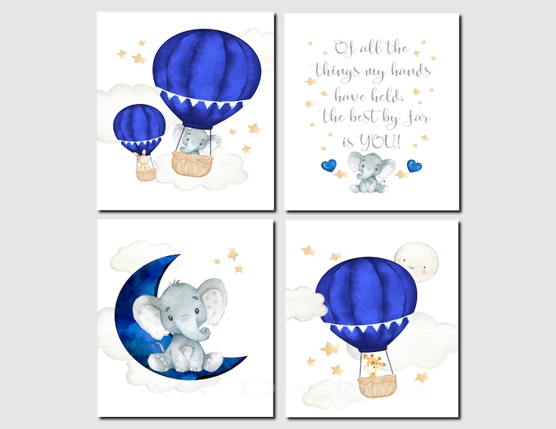 Boy Nursery Decor, Hot Air Balloons, Of All The Things My Hands Have Held,  Elephant, Navy, Baby Animals, Set of 4, Unframed Prints or Canvas