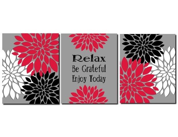 Red Black White Gray Wall Art Kitchen Art Bathroom Art Flower | Etsy