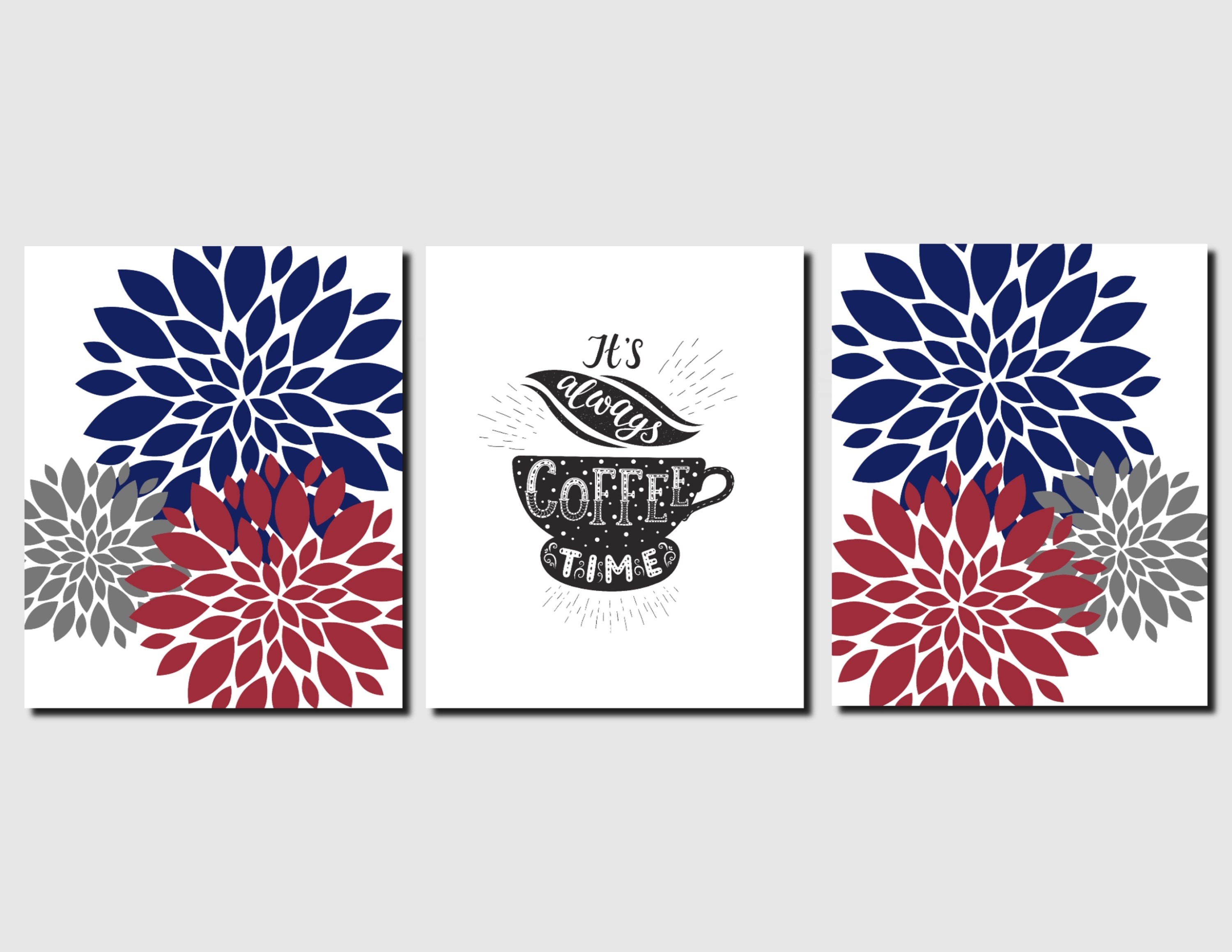 Coffee Sign Navy Red Kitchen Wall Art Signs Floral
