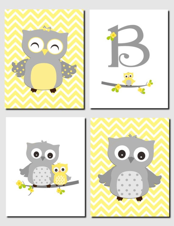 Yellow Gray Wall Art Baby Boy Nursery Baby Girl Nursery Owl