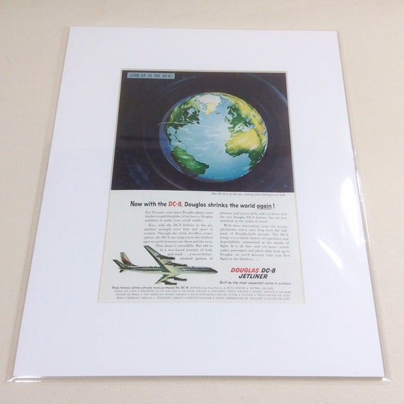 """1958 DC-8 """"Shrinks the World Again"""" Aviation Ad, Matted and ready to frame"""