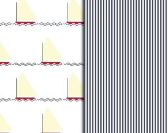 Sailboat and Stripes Pattern Sheets