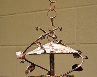 Copper hanging dome bird feeder