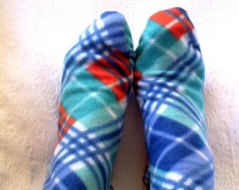 Plaid Fleece Socks, Warm Women's Fleece Socks Handmade, Fleece Socks, Soft Women's Bed Socks, Gift for Senior Citizens, Warm Soft Sox