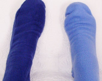 Ladies Fleece Socks, Women's Socks, Light or Royal Blue Socks, Warm Fleece Socks, Handmade Senior Citizen Gifts under 10 Dollars, Warm Socks