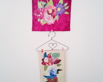 Quilted, embroidered fabric collage wall hanging, home decor, housewarming gift