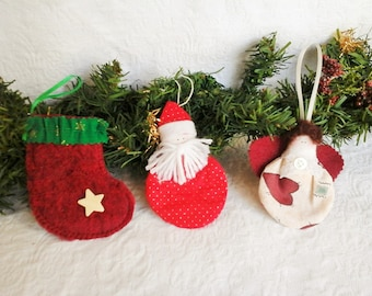 Christmas in July, Ornaments handmade, holiday home decor, set of three ornaments