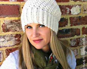 c1e0d8dc7eb Ribbsta Hat Pattern for women using chunky yarn - Slouchy Beanie Crochet  Pattern No.230 Digital Download English. bubnutPatterns