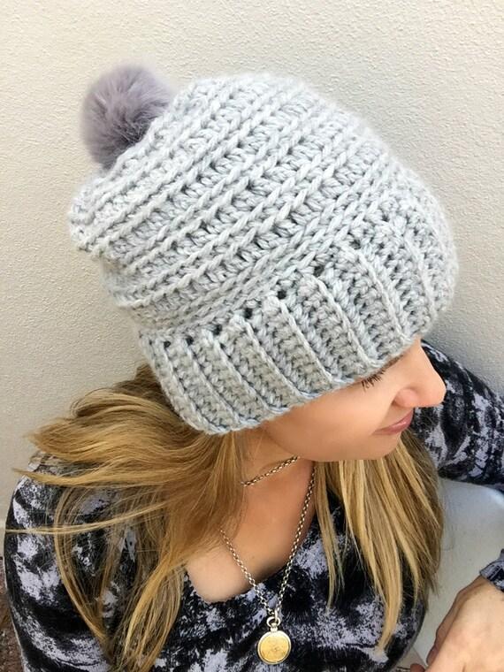 Slouchy Crochet Hat Pattern For Chunky Yarn No240 Digital Etsy