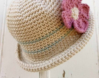 Crochet Hat Pattern - Rolled Brim Hat Crochet Pattern No.119 Baby Bowler Newborn English
