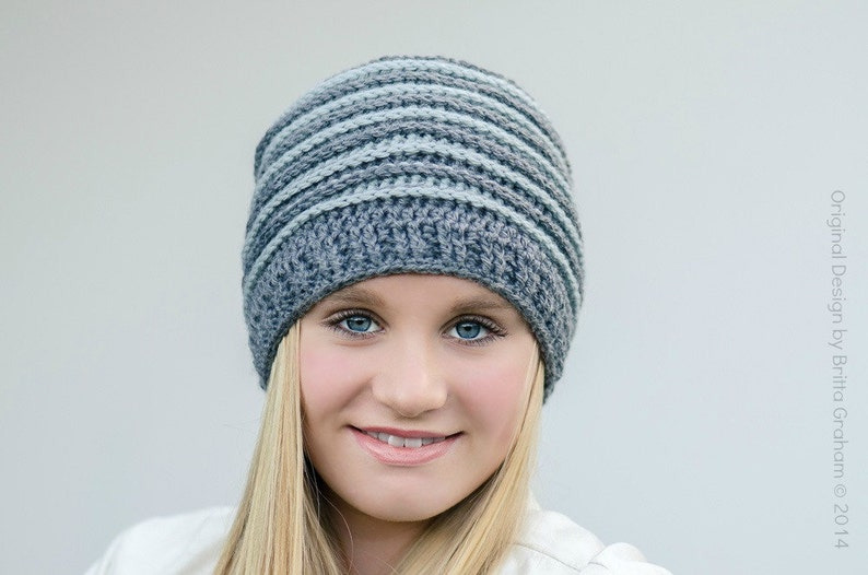 Ribbed Beanie crochet hat pattern No.306 using Double  9dab6981972