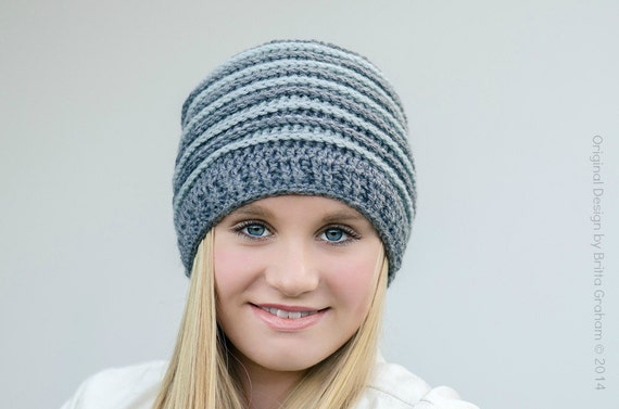 crochet hat pattern unisex ribbed beanie P306 using Double Knitting DK 8ply  yarn digital pdf download English 2ca1240db1c