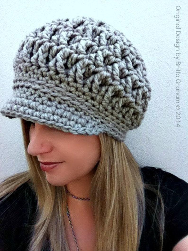 Newsboy Crochet Hat Pattern for Super Bulky yarn The Chunksta  73a0aaa9061