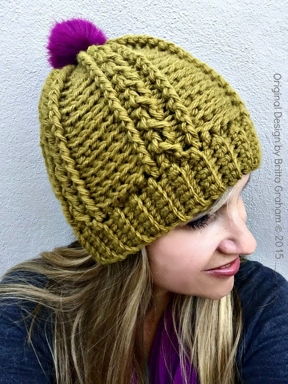 Easy Peasy Chunky Hat Pattern for Ladies Crochet Cable Beanie ... fe312867a9