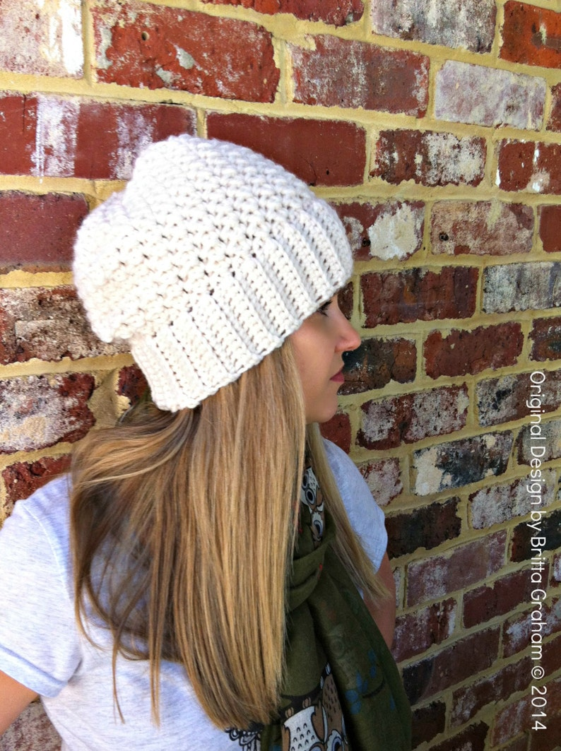 d5f55084328 Ribbsta Slouchy Beanie Pattern for chunky yarn Crochet Hat