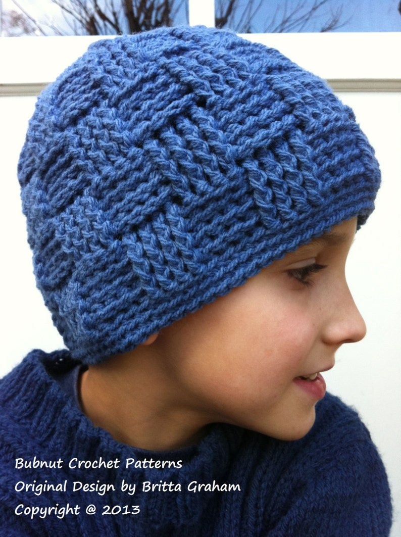 404db933379 Boys Crochet Hat Pattern No.124 Basket Weave Baby Toddler