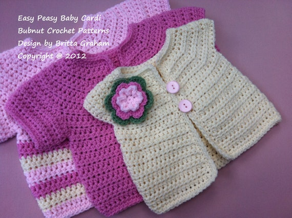 Crochet Baby Jacket Pattern Easy Peasy Cardigan Crochet Etsy