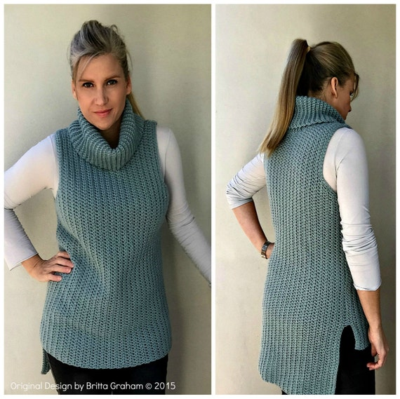 Easy Hi Lo Cowl Neck Tunic Crochet Pattern Sleeveless Ladies Etsy