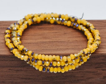 BZ02-32 Crystal Faceted Rondelle Beads 2mm Tiny Size Glass Spacer Beads 200 beads Yellow
