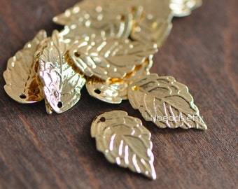 60-75mm Natural real Leaf Metalic Gold Plated Pendant e7117