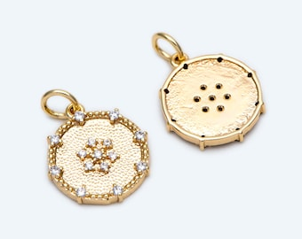 Jewelry making supplies 10pcs CZ Paved Gold Round Charm 18x17mm, GB-1871 Necklace pendant