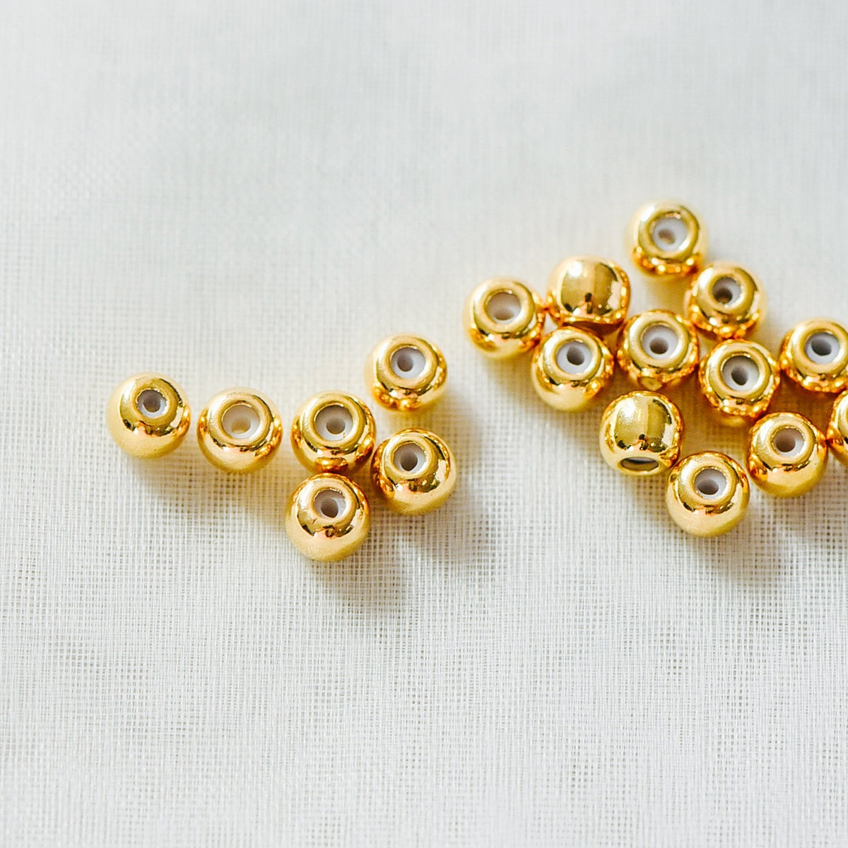 GB-345 20pcs Rondelle Rubber Stopper Beads with Loop 3mm 4mm Gold plated Brass Charm Holder Connector