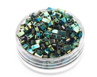 Miyuki Half Tila Beads, miyuki beads, half tila beads, Japanese seed beads, HTL468 opaque metallic malachite green(RM45-6)