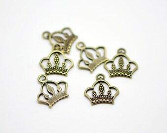 20pcs Crown Charms Antique Bronze -10202
