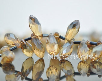 95pcs Teardrop Crystal Glass Faceted beads 17x8mm Champagne Briolette- (HS16-1)