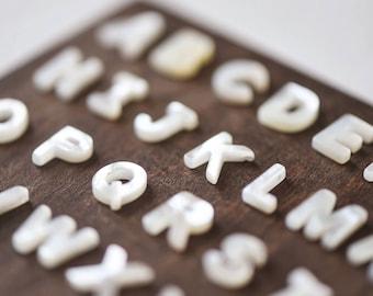 White Mother of Pearl Shell Alphabet Letter Beads 10mm-(V1303)