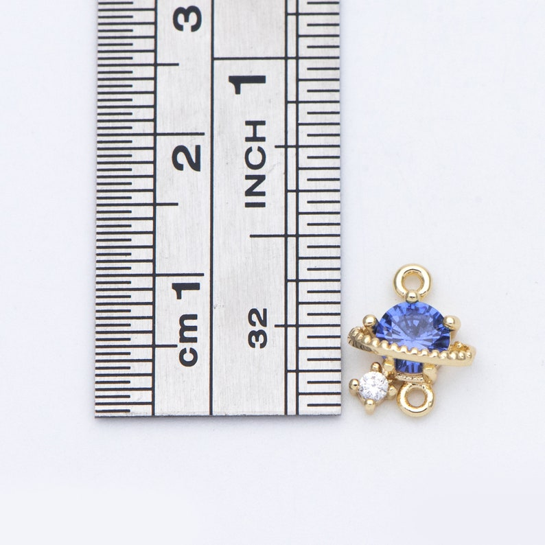 GB-689 10pcs CZ Paved Saturn Charms 11x9mm Gold plated Brass Saturn Pendants Space Planet DIY Connectors