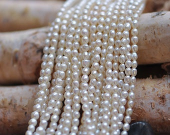 White Oval Freshwater Pearl Seed Beads, 3mm by 3.5mm Rice Pearl- (PL02-9)/ full strand