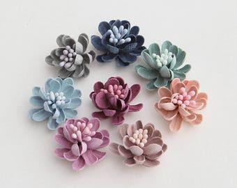 8pcs Handmade Fabric Flowers 22mm, Mix 8 Colors (#FB003)