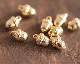 10pcs Mini Gold plated Brass Acorn Charms 9x6mm, Lead Nickel Free (GB-067-1)