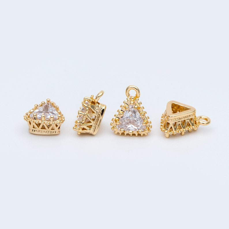 Gold Plated Brass Rectangle Pendants GB-1212 4pcs CZ paved Gold Rectangle Bar Charm 26x7mm