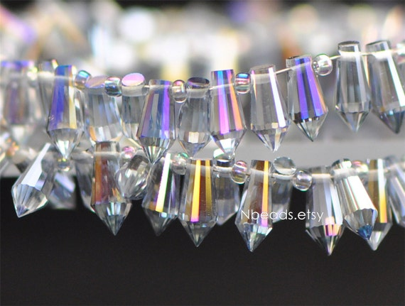 10Pcs Clear Crystal Quartz Glass Faceted Teardrop Charms Beads Craft 12x6mm