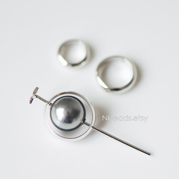 10pcs Silver tone Round Bead Frame Charms Rhodium plated   Etsy