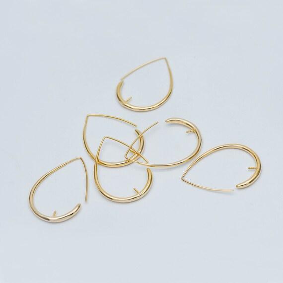 33x14mm 25pcs Kidney oval hoop shape earring wires earwires silver plated brass