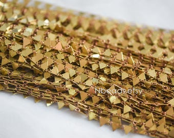 Unplated Brass Beaded Chain 7mm Triangle Flag (#LK-031)/ 1 Meter=3.3ft