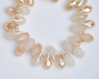 95pcs Crystal Teardrop Faceted Glass beads 6x12mm White Champagne Briolette -(#HS06-03)