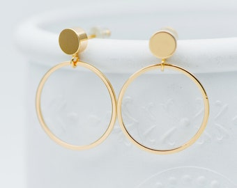 10pcs Gold Cricle Ear Posts 20x27mm, 18K Gold plated Brass Geometric Earring, Round Loop Stud Earrings (GB-608)