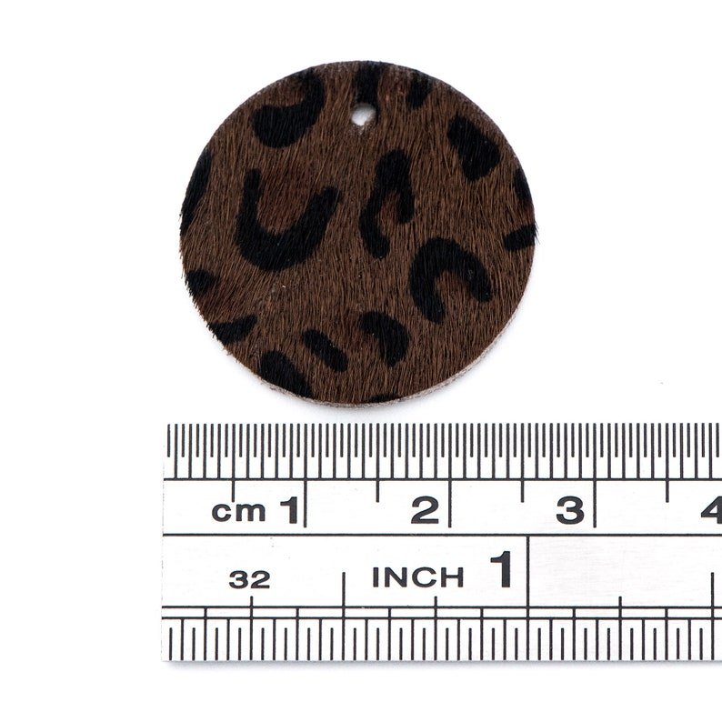 Geometric Coin Leather Genuine Leather Disc Pendants Leopard FB-067-10 10pcs Round Leather Charms 25mm