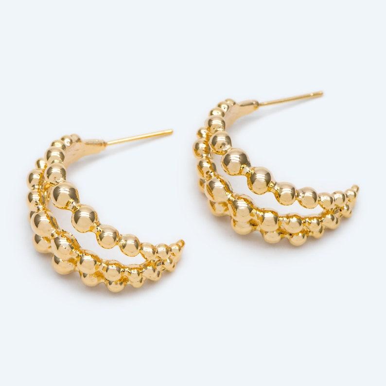 10pcs Gold plated Brass Ear Posts GB-1993 Geometric Loop Stud Earrings