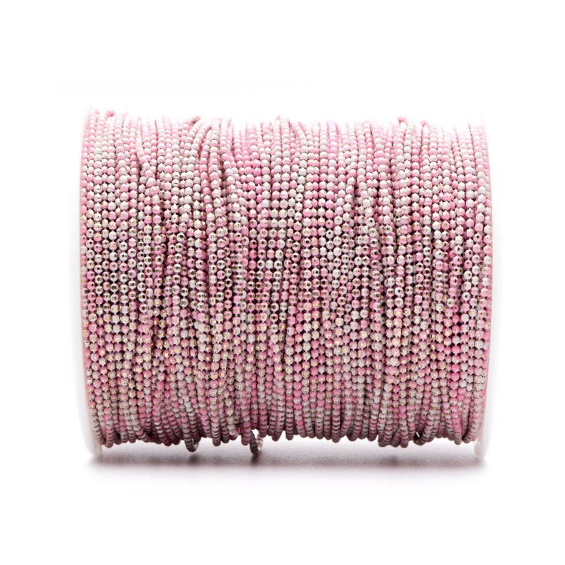 Multi Colors Tiny Chains 5 Meters=16.5ft #LK-256 Dainty Faceted Brass Ball Chain 1.6mm