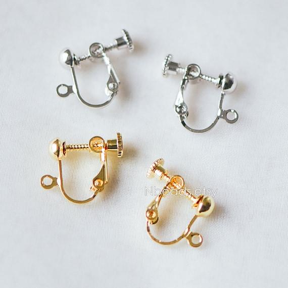 10 pcs Antique Bronze Clip on Earrings Ear Clips Earring components