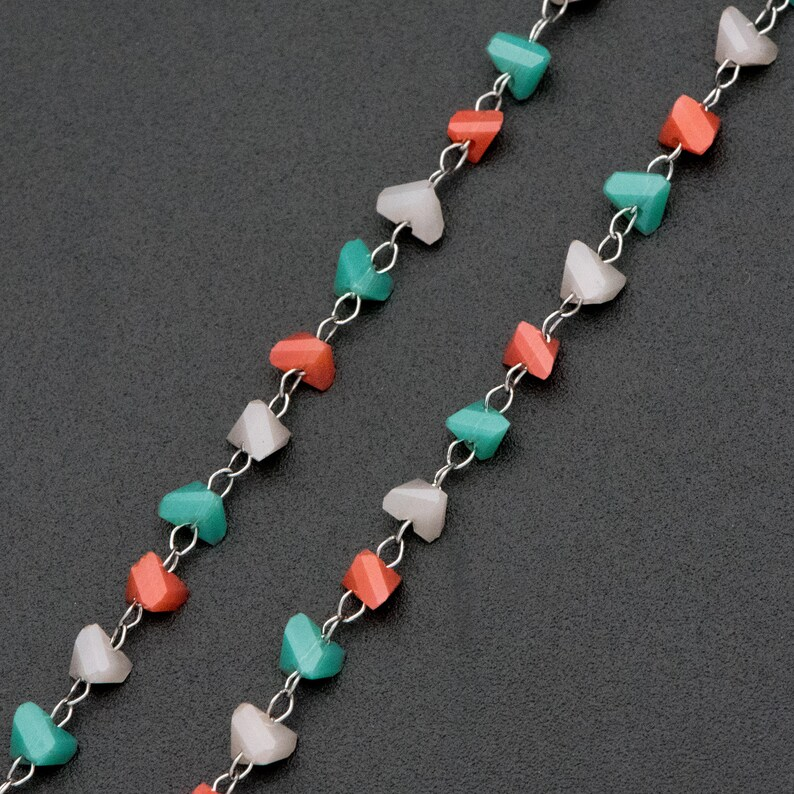 Stainless Steel Glass Beaded Chains #LK-382-1 Silver tone DIY Chain Wholesale 3.8mm Triangle Beads 1 Meter=3.3 ft