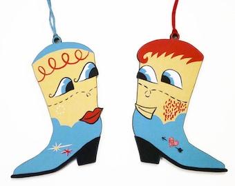 Solemates Pair of Tree Decorations - Festive Ornament - Cowboy boots